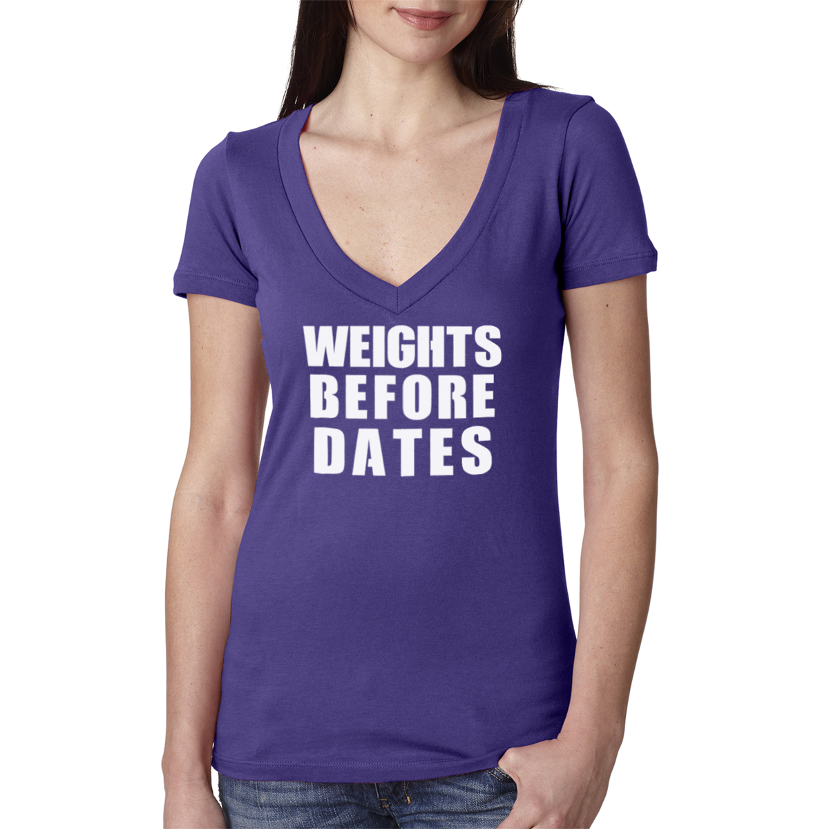 Weights Before Dates Gym Women's Cotton V Neck T-Shirt