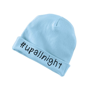 #UpAllNight No Sleep Funny Baby Beanie Cotton Cap Hat
