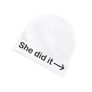 She Did It Pointing Arrow Funny Baby Beanie Cotton Cap Hat