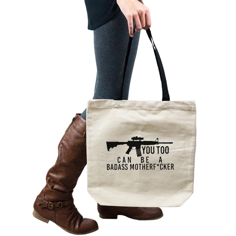 Funny Assault You Too Can Be A Badass Ar 15 Tote Handbag Shoulder Bag Purse