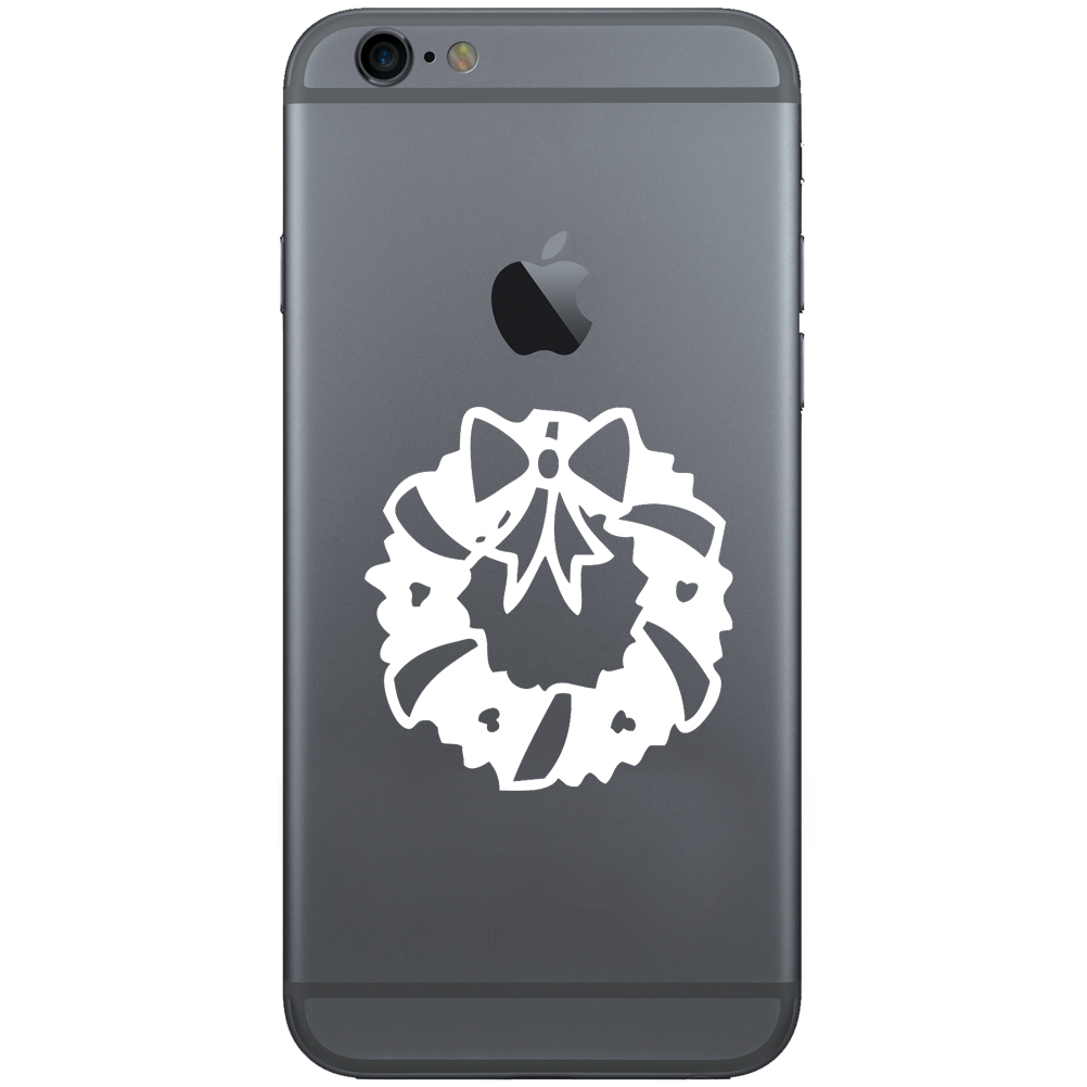 Christmas Wreath Silhouette.Christmas Wreath Ribbons Silhouette 2 Vinyl Sticker Cell Phone Decal