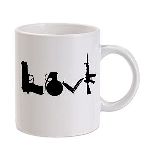 Love Weapons Rifle Knife Grenade 11 oz. Novelty Coffee Mug