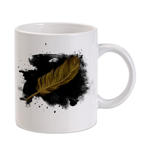 Black Ink Gold Feather 11 oz. Novelty Coffee Mug