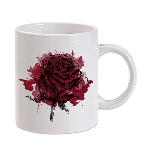 Watercolor Red Rose 11 oz. Novelty Coffee Mug