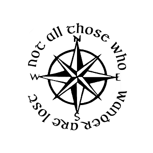 Not All Those Who Wander Are Lost LOTR Compass Vinyl Sticker Car Decal