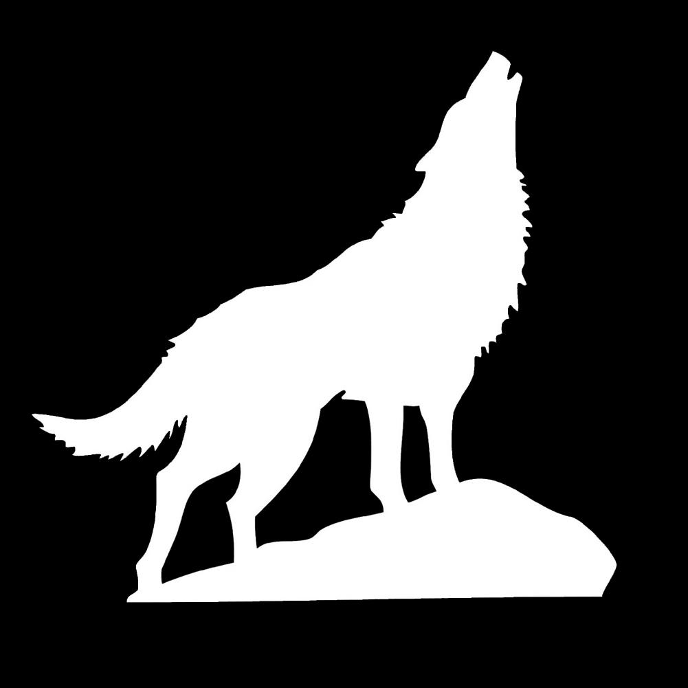 Howling Wolf Silhouette Vinyl Sticker Car Decal