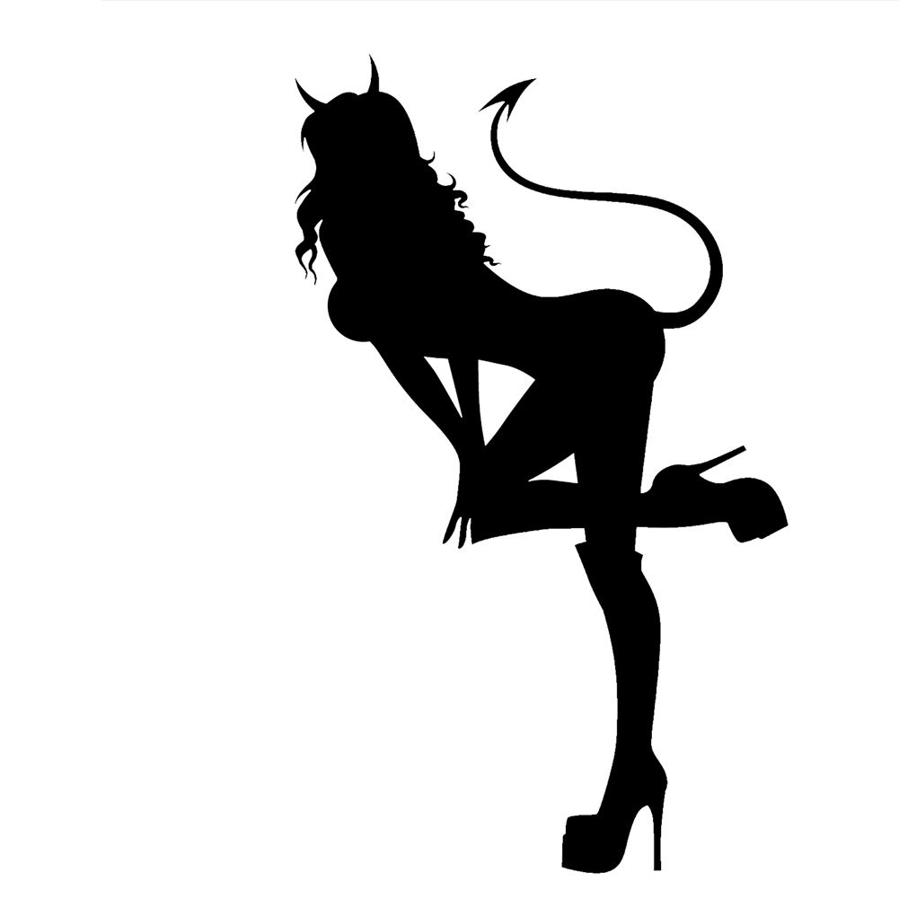 Sexy Devil Girl Bending Over Heels Tail Horns Vinyl