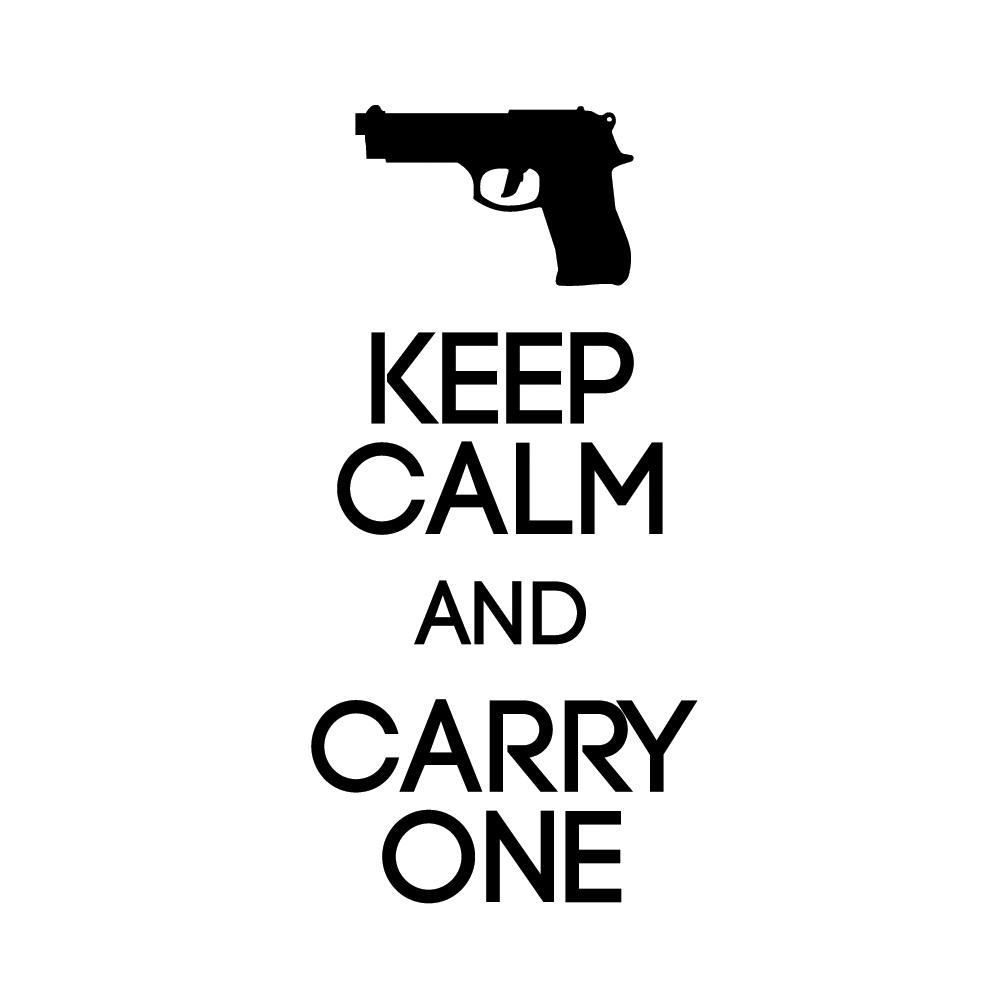 Keep Calm and Carry One Firearm Pistol Vinyl Sticker Car Decal