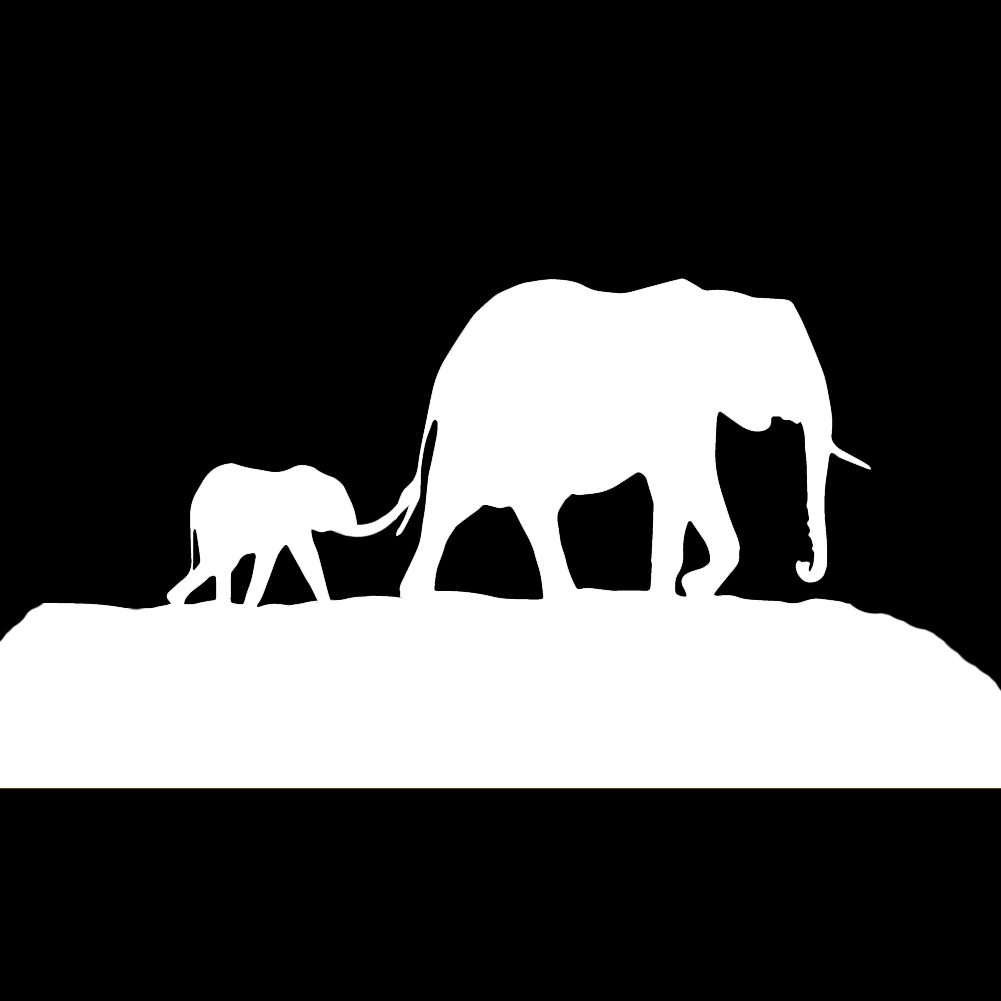 Elephant Family Mother Father Baby Silhouette Vinyl