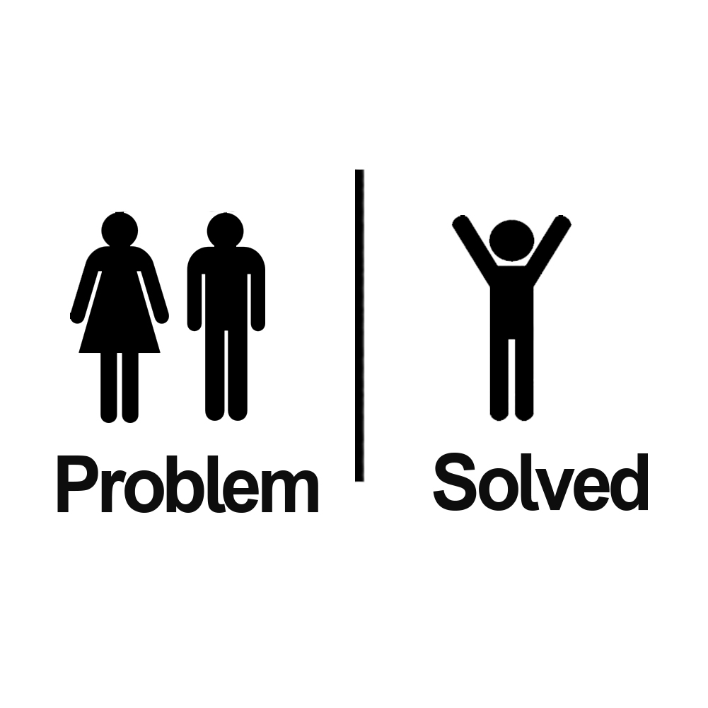 problem solved funny couple single man vinyl sticker car decal. Black Bedroom Furniture Sets. Home Design Ideas