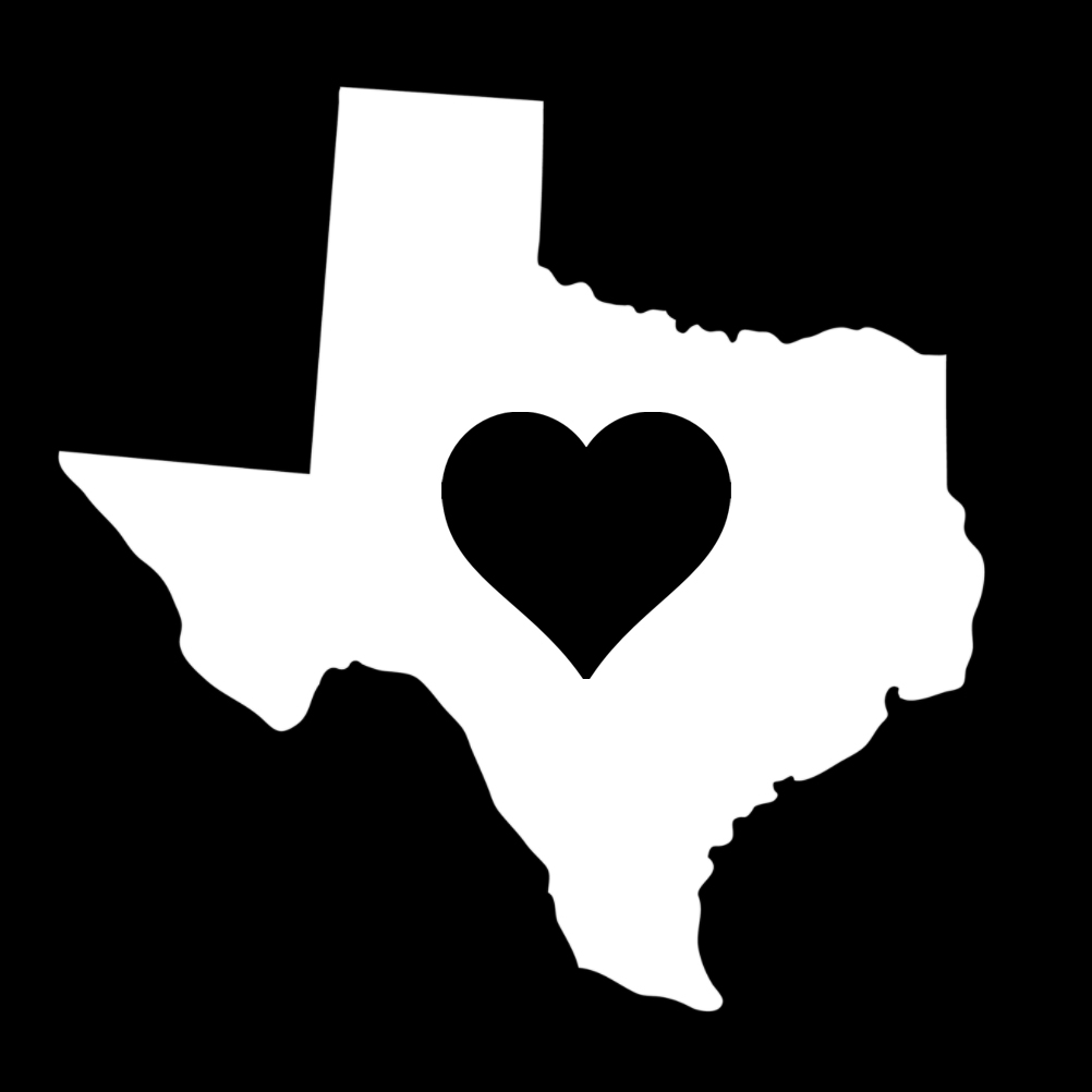 Texas Heart State Silhouette Vinyl Sticker Car Decal