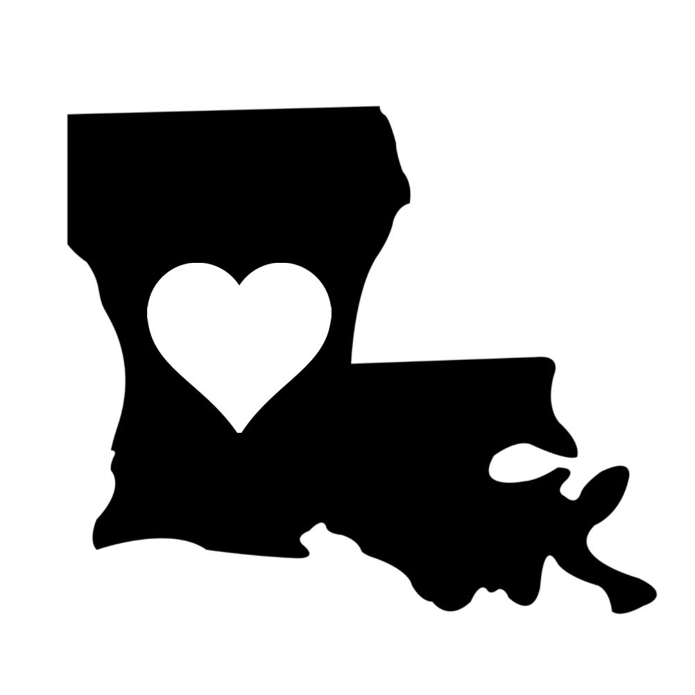 Louisiana Heart State Silhouette Vinyl Sticker Car Decal