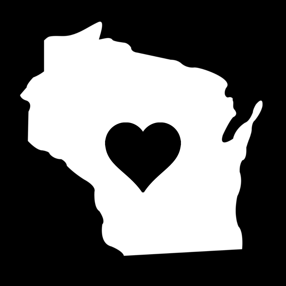 Wisconsin Heart State Silhouette Vinyl Sticker Car Decal
