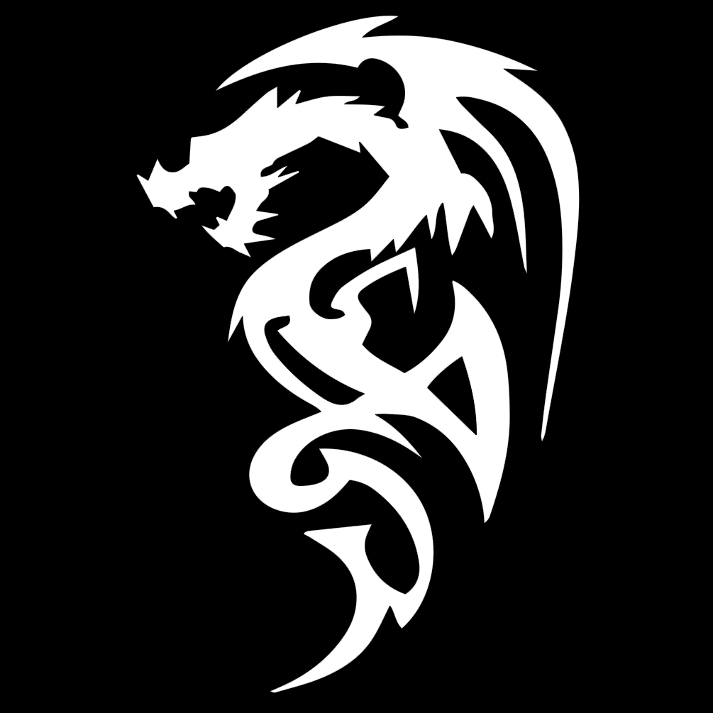 Tribal Dragon Silhouette Vinyl Sticker Car Decal