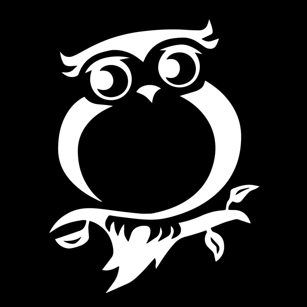 Tribal Owl Silhouette Vinyl Sticker Car Decal