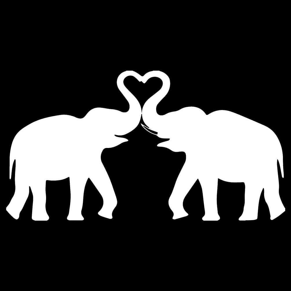 Elephants In Love Heart Silhouette Vinyl Sticker Car Decal