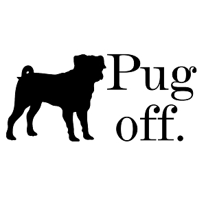 Pug Off Silhouette Parody Funny Vinyl Sticker Car Decal
