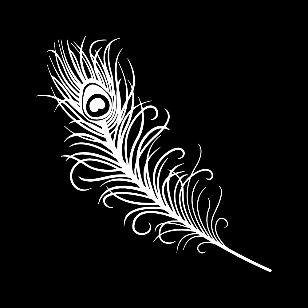 Peacock Feather Outline Silhouette Vinyl Sticker Car Decal