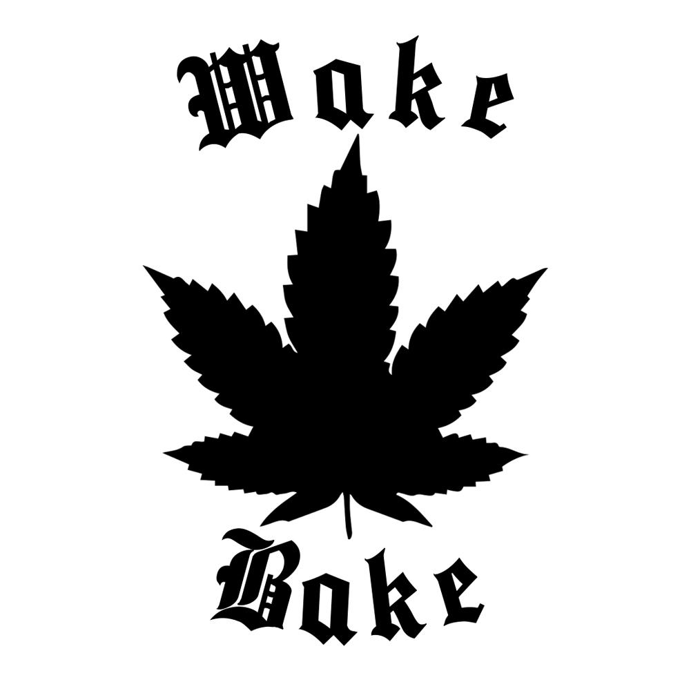 Pot Leaf Silhouette Wake And Bake Weed Marijuana Vinyl