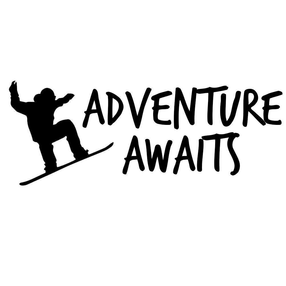 Snowboarder Adventure Awaits Vinyl Sticker Car Decal