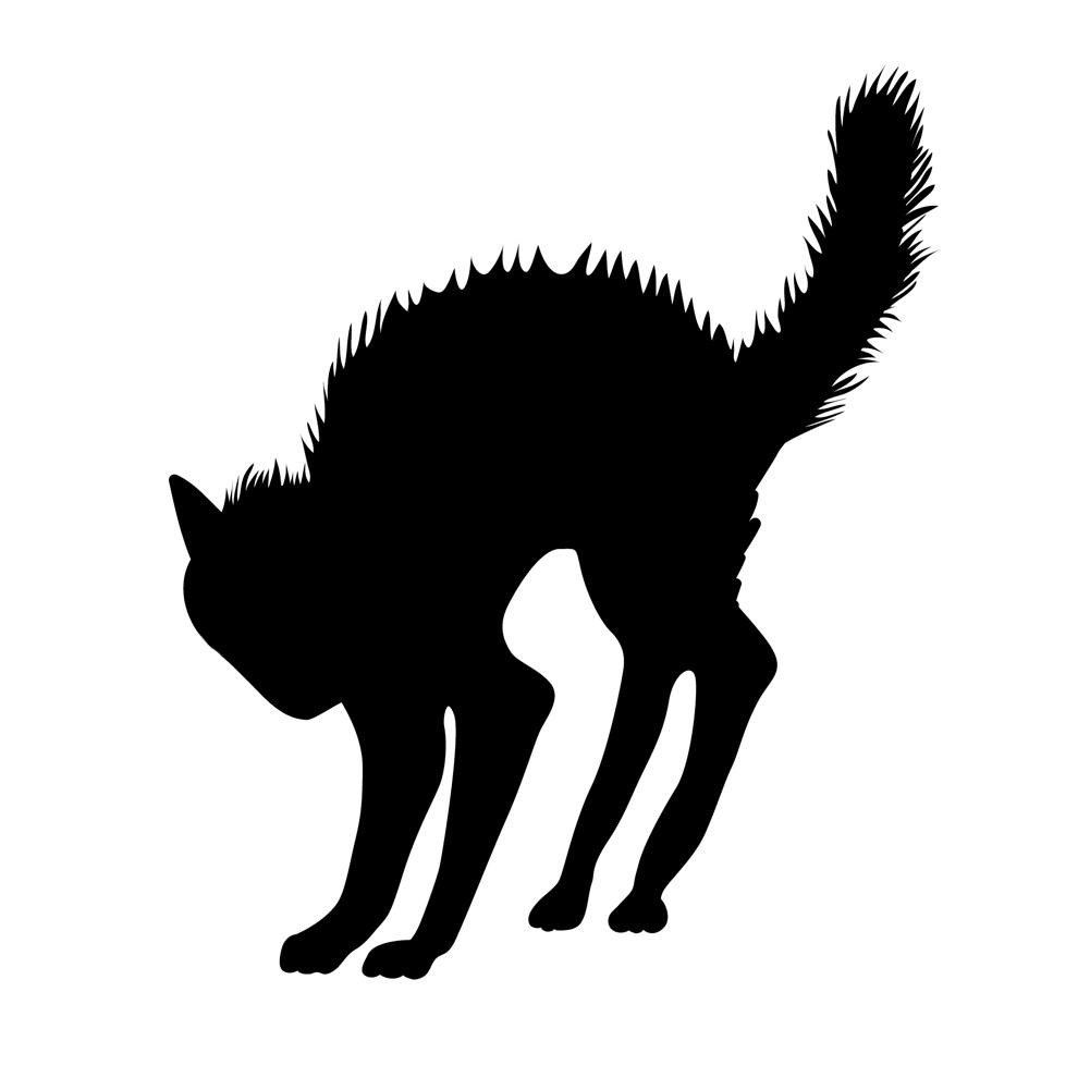 Scared Cat Silhouette Spooky Halloween Vinyl Sticker Car Decal