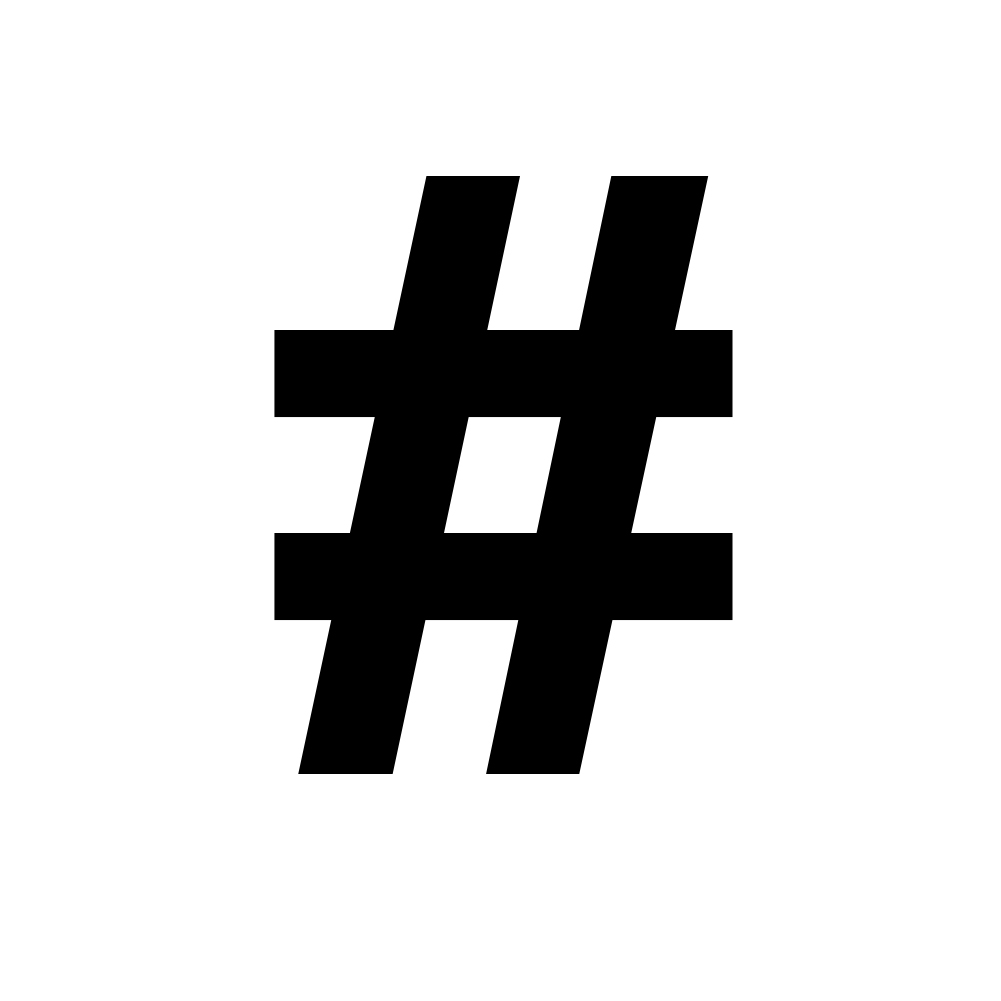 Pound Sign Hashtag Symbol Keyboard Character Vinyl Sticker Car Decal