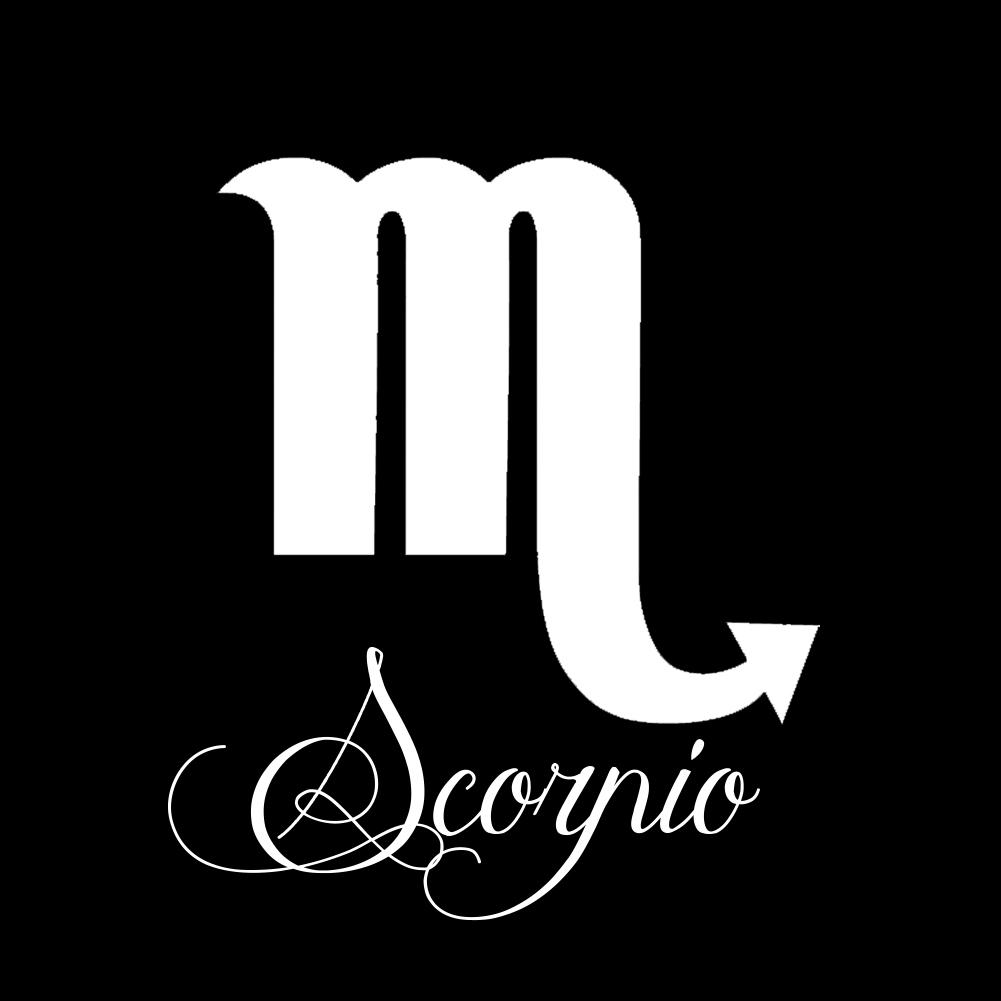 Zodiac Sign Scorpio Script Writing Silhouette Vinyl
