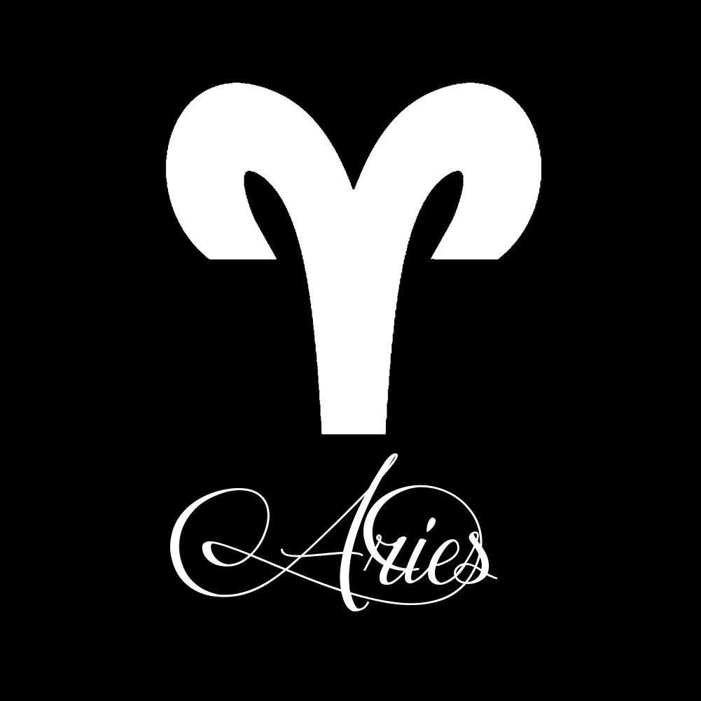 Zodiac Sign Aries Script Writing Silhouette Vinyl Sticker