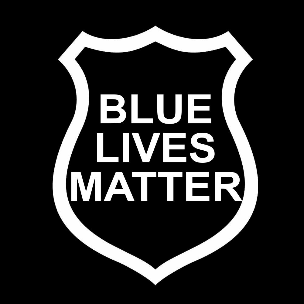 Yeti Car: Blue Lives Matter Police Badge Outline Vinyl Sticker Car Decal