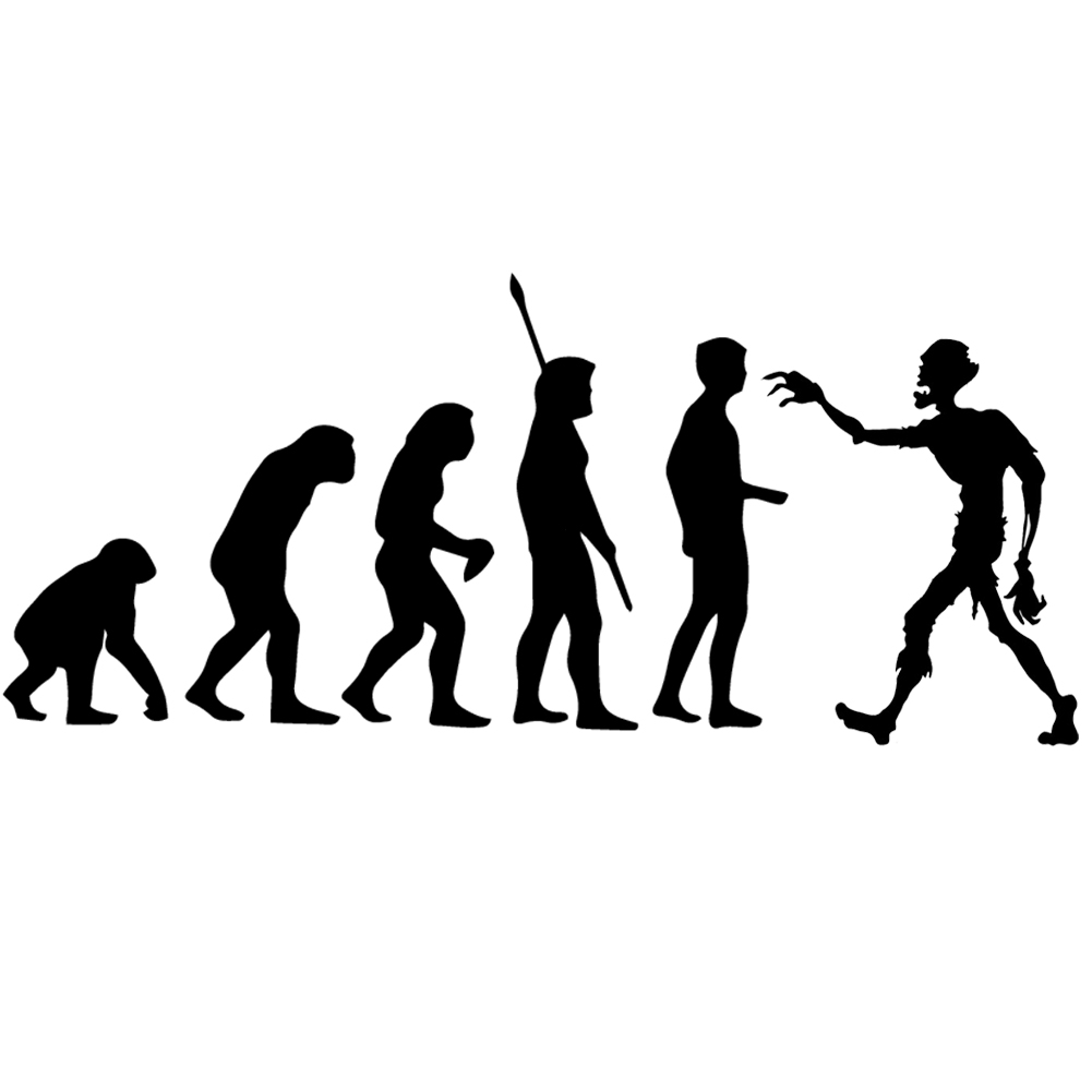 Funny Evolution Of Man Zombie Walker Parody Vinyl Sticker