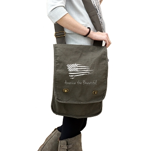Patriotic America the Beautiful USA Flag 14 oz. Authentic Pigment-Dyed Canvas Field Bag Tote