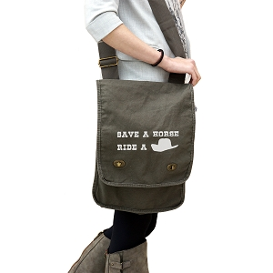 Funny Country Save a Horse Ride a Cowboy 14 oz. Authentic Pigment-Dyed Canvas Field Bag Tote