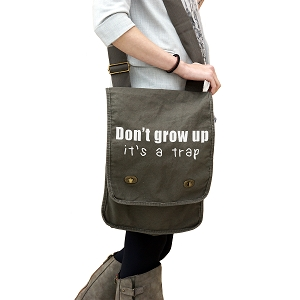Funny Don't Grow Up It's a Trap Kid Adult JDM 14 oz. Authentic Pigment-Dyed Canvas Field Bag Tote