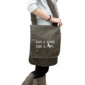 Funny Country Save a Horse Ride a Cowgirl 14 oz. Authentic Pigment-Dyed Canvas Field Bag Tote