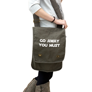Funny Yoda Parody Go Away You Must 14 oz. Authentic Pigment-Dyed Canvas Field Bag Tote