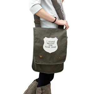 I Stand Behind the Blue Line Police Cops 14 oz. Authentic Pigment-Dyed Canvas Field Bag Tote