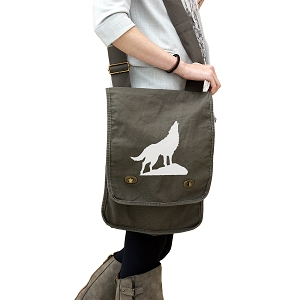 Howling Wolf Silhouette 14 oz. Authentic Pigment-Dyed Canvas Field Bag Tote