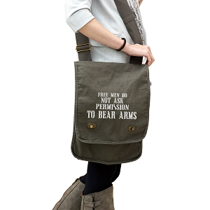 Free Men Don't Ask Permission to Bear Arms Patriotic 14 oz. Authentic Pigment-Dyed Canvas Field Bag Tote