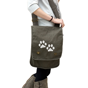 Dog Paws Silhouette 14 oz. Authentic Pigment-Dyed Canvas Field Bag Tote