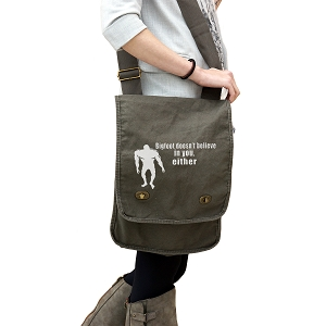 Bigfoot Doesn't Believe in You Either Funny 14 oz. Authentic Pigment-Dyed Canvas Field Bag Tote
