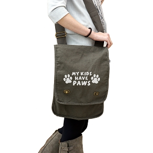 My Kids Have Paws Animals Dog Cat 14 oz. Authentic Pigment-Dyed Canvas Field Bag Tote