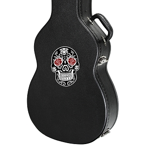 Sugar Skull Rose Eyes Guitar Instrument Case Sticker  - 3.5