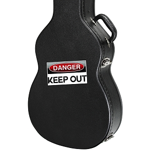 Danger Keep Out Guitar Instrument Case Sticker  - 4.5