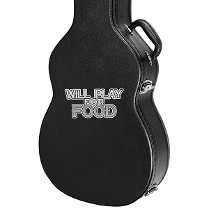 Will Play For Food Guitar Instrument Case Sticker  - 4.5