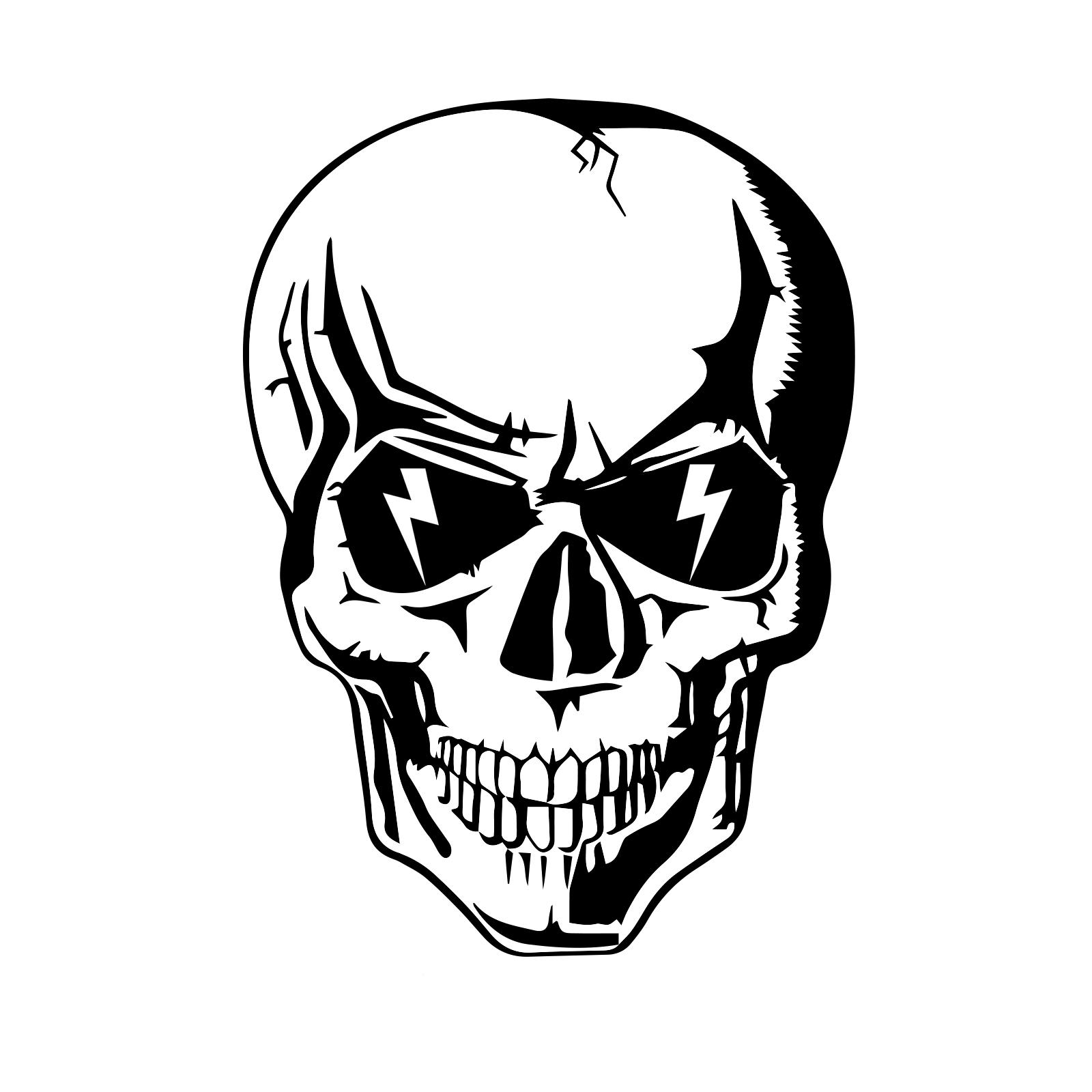 lightning skull hard hat helmet sticker