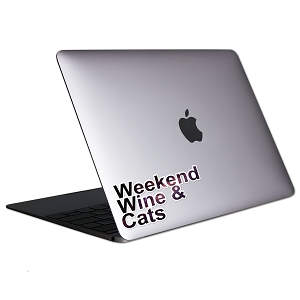 Weekend Wine & Cats Tablet & Laptop Sticker