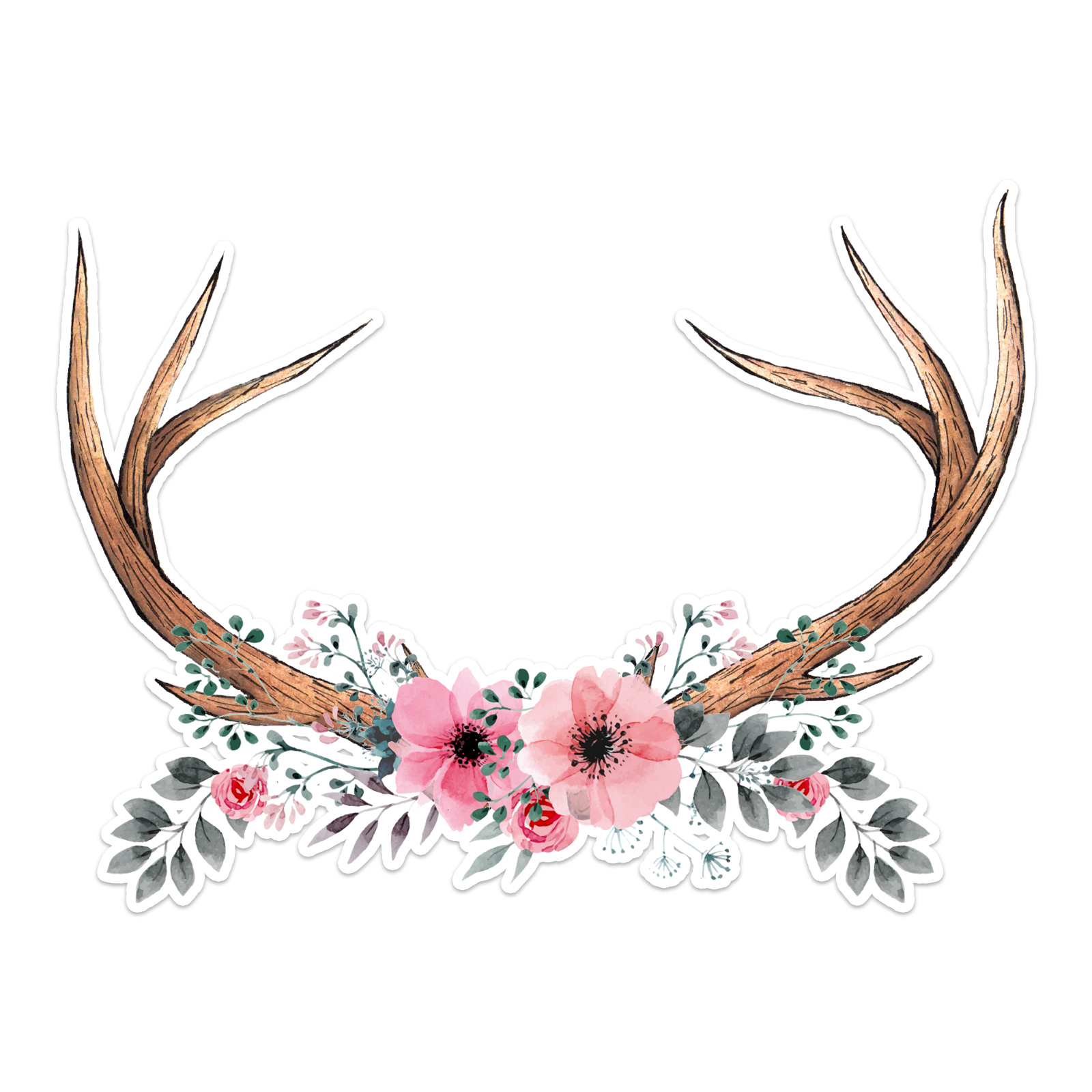 Floral Antlers Laptop Trackpad Sticker 3 Quot Tall X 4 Quot Wide