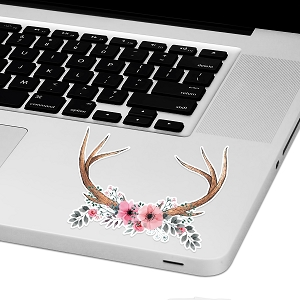 Floral Antlers Laptop Trackpad Sticker 3