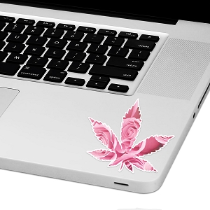 Rose Marijuana Leaf Laptop Trackpad Sticker 3