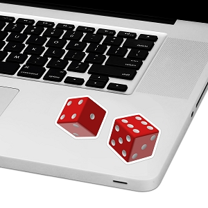 Red Dice Laptop Trackpad Sticker 2.5